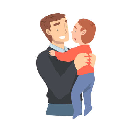 Happy Dad Holding his Toddler Baby, Happy Parenting, Fatherhood and Kids Care Cartoon Vector Illustration