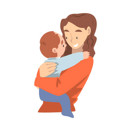 Young Mother Holding her Toddler Baby, Happy Parenting, Motherhood and Kids Care Cartoon Vector Illustration