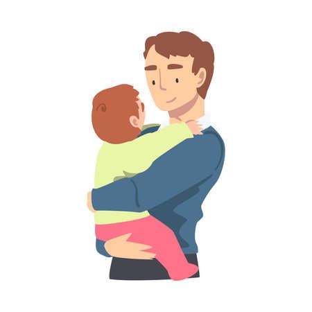 Dad Hugging his Toddler Baby, Happy Parenting, Fatherhood and Kids Care Cartoon Vector Illustration Vector Illustratie