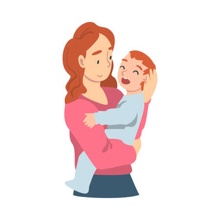 Beautiful Young Mom Holding her Toddler Baby, Parenting, Motherhood and Kids Care Concept Cartoon Vector Illustration