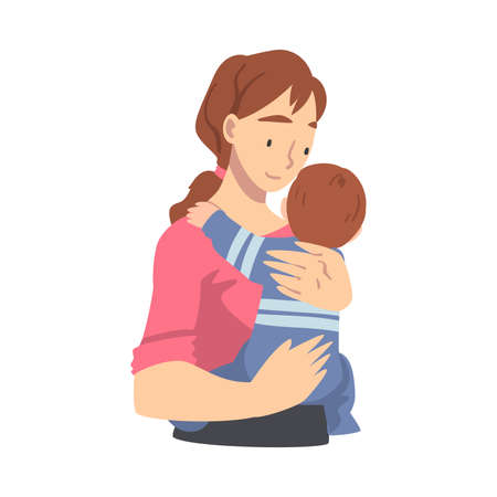 Loving Mom Holding her Baby Son, Happy Parenting, Motherhood and Kids Care Cartoon Vector Illustration