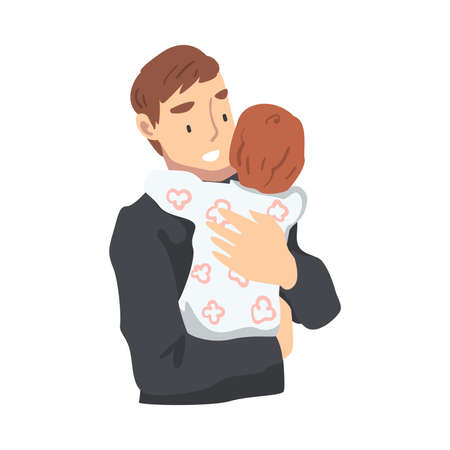 Cheerful Father Hugging his Baby, Parenting, Fatherhood and Kids Care Cartoon Vector Illustration
