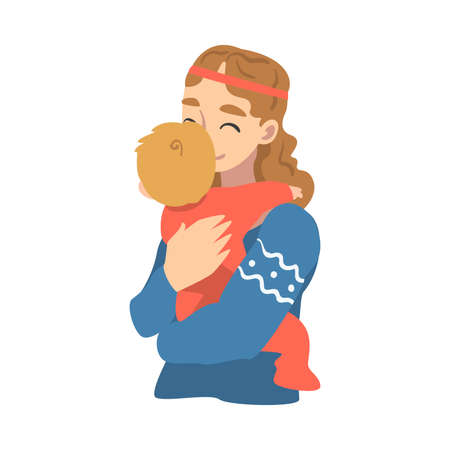 Beautiful Young Mom Hugging her Baby, Happy Parenting, Motherhood and Kids Care Cartoon Vector Illustration