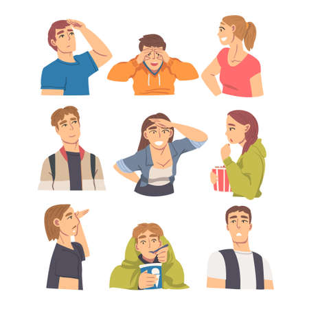 People Looking in Different Directions Set, Young Men and Women Looking at Something with Various Face Expression Cartoon Vector Illustration