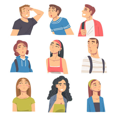 People Looking in Different Directions Set, Portraits of Young Men and Women Looking at Something Cartoon Vector Illustration