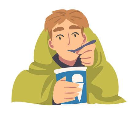 Boy Eating Ice Cream Staring at Something Cartoon Vector Illustration
