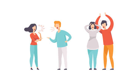 Man and Woman Quarrelling and Arguing with Each Other Shouting and Yelling Vector Illustration Set Vector Illustratie