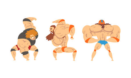 Muscular Wrestler Posing and Striking Engaged in Mixed Martial Arts Fighting Vector Set Vettoriali