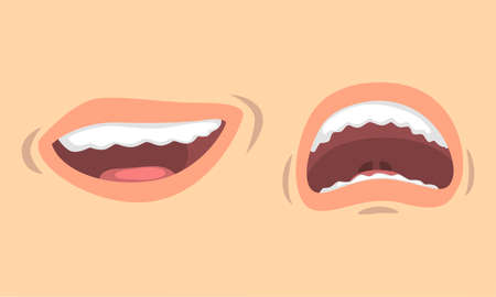 Upper and Lower Lips of Mouth Curving in Different Gestures Vector Set