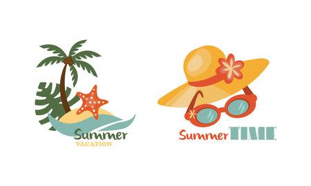 Straw Hat and Palm Tree as Beach Holiday and Summer Vacation at Sea Shore Vector Composition Set Vektoros illusztráció