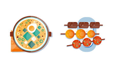 Soup in Bowl and Deep Fried Meat Balls Flat Icon Vector Set