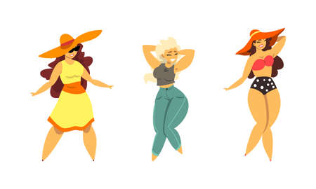 Plus Size Woman Model Posing and Smiling Vector Set