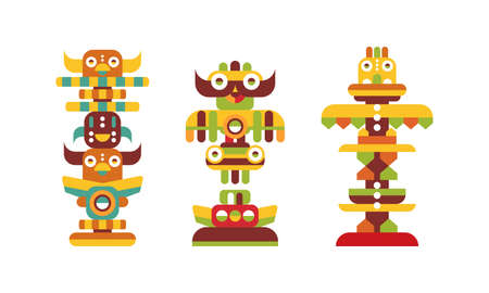 Totem Pole as Monumental Carving with Figures Vector Set