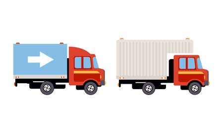 Truck or Lorry as Motor Vehicle and Urban Transport for Transporting Cargo Vector Set Vector Illustration