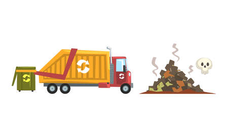 Waste Sorting and Litter Recycling with Refuse-collecting Truck and Dump Vector Set