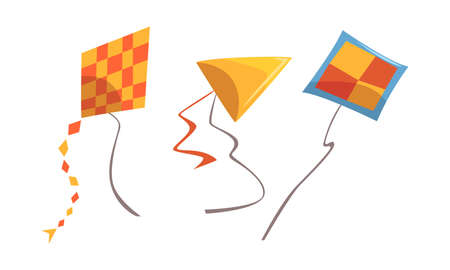 Colorful Kite as Tethered Craft with Wing Surfaces and Tail Vector Set