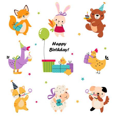 Happy Birthday Concept, Adorable Baby Animal Celebrating Holiday, Baby Shower Design Element Cartoon Vector Illustration