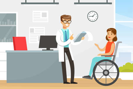 Practitioner Doctor Consulting Female Patient in Wheelchair, Medical Treatment and Support Vector Illustration