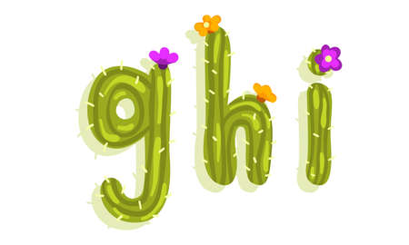 Latin Alphabet of Green Cactus with Blooming Flowers Vector Set