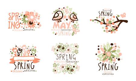 Tender Spring Labels with Original Design Vector Set Vecteurs