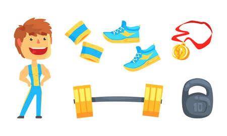 Weightlifting Activity with Muscled Man and Gym Equipment Vector Set