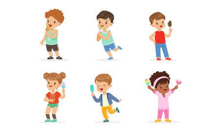 Joyful Boy and Girl Character Holding Fruity Ice Cream on Stick Vector Set