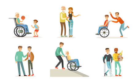Volunteers Helping and Supporting Disabled People Characters Vector Illustration Set