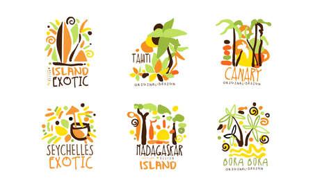 Exotic Island Original Design for Summer Beach Tourism Vector Set Vector Illustratie