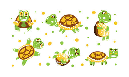 Cute Turtle with Shell and Short Feet in Different Poses Vector Set