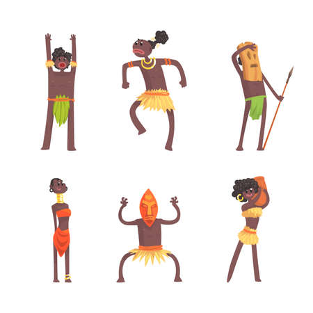African People Characters Dancing Folk or Ritual Dance Vector Set Vecteurs