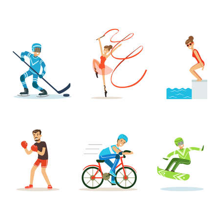 People Characters Practicing Different Sport Vector Set