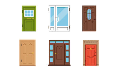 Different Door as Building Entrance Exterior Vector Set Vetores