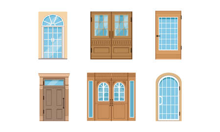 Different Door as Building Entrance Exterior Vector Set. Vertical Hinged Portal or Entry for Ingress and Egress Concept