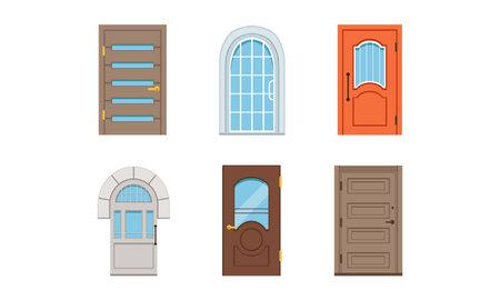 Different Door as Building Entrance Exterior Vector Set. Vertical Hinged Portal or Entry for Ingress and Egress Concept Ilustración de vector