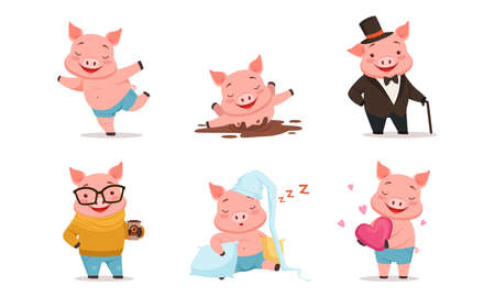 Funny Pig Drinking Coffee, Splashing in Mud and Sleeping on Pillow Vector Set. Comic Farm Animal with Pink Body and Hooves Concept