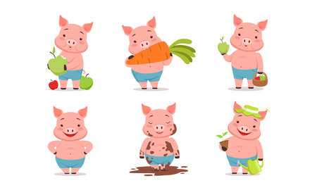 Funny Pig Eating Carrot, Splashing in Mud and Gardening Vector Set. Comic Farm Animal with Pink Body and Hooves Concept