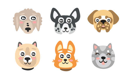 Different Dog Muzzle and Heads with Pointed Ears Vector Set Vektorové ilustrace