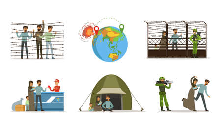 Stateless Refugees or Displaced People Crossing National Boundary Escaping War and Poverty Vector Illustration Set