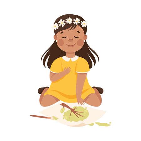 Adorable Girl Sitting on Floor and Drawing, Cute Kid Creative Activity Cartoon Vector Illustration