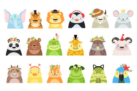 Set of Cute Adorable Animal Characters Dressed in Various Headdress Cartoon Vector Illustration