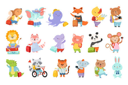 Set of Cute Adorable Animal Characters Traveling on Summer Vacation Cartoon Vector Illustration