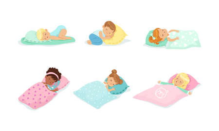 Adorable Little Boys and Girls Sleeping Sweetly on Soft Pillows and Under Warm Blankets Vector Set Vector Illustration