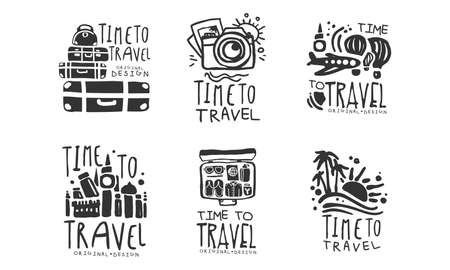 Time to Travel Original Design with Packed Suitcase Vector Set