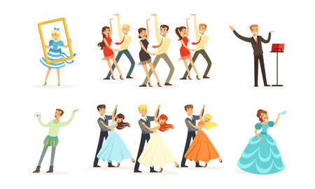 People Characters Acting in Play and Dancing on Stage of Classic Theater Vector Illustration Set