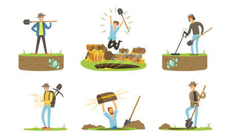 Man Treasure Hunter with Metal Detector and Shovel Digging Hole in Soil Extracting Gold and Gemstones Vector Set 向量圖像