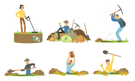 Man Treasure Hunter with Metal Detector and Shovel Digging Hole in Soil Extracting Gold and Gemstones Vector Set