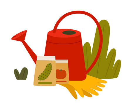 Garden Inventory with Watering Can and Seed Grains Vector Composition