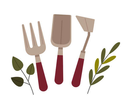 Garden Fork and Trowel as Agricultural Tool Vector Illustration