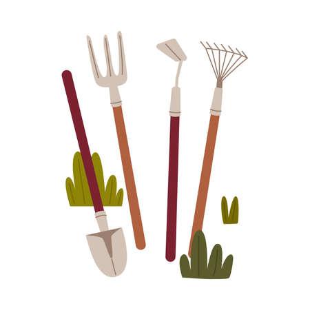Shovel, Pitchfork and Hoe as Garden and Agricultural Tool Vector Illustration Ilustración de vector