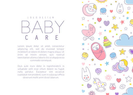 Cute Baby Care Poster Template with Copyspace Vector Illustration Vecteurs